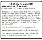SK7SSA – bulletinen på SK7RGM 16 maj 2021.