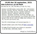 SK7SSA – bulletinen på SK7RGM den 26 september 2021.