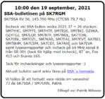 SK7SSA – bulletinen på SK7RGM den 19 september 2021.