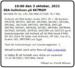 SK7SSA – bulletinen på SK7RGM den 3 oktober 2021.