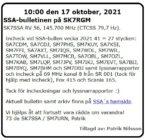 SK7SSA – bulletinen på SK7RGM den 17 oktober 2021.