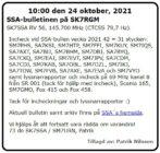 SK7SSA – bulletinen på SK7RGM den 24 oktober 2021.