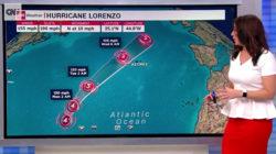 Orkanen Lorenzo på väg att drabba Azorerna, visa hänsyn!
