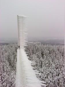 Nedisade antenner på Leksandsrepeatern den 2014-02-15.