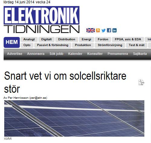 Solcellsriktare Elektroniktidningen juni 2014