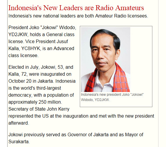 Skärmdump ur ARRL:s nyhetsbrev för oktober 2014. Indonesiens president och vicepresident är båda radioamatörer. Länk till nyhetsbrevet: se nedan.