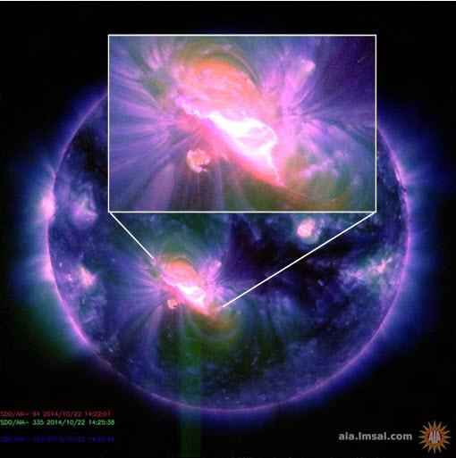 Största solfläcken sedan 2003.  Foto NASA.