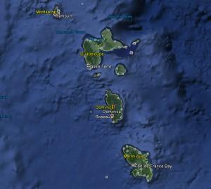 Dominica ligger mellan Guadelope och Martinique i Karibien. En normal dagstemperatur är 29 grader.  Här är varmt och skönt, säger Owe. Bilden ur Google Earth.