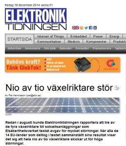 Elektroniktidningen rapporterar från stor test av växelriktare: Nio av tio stör mer än tillåtet.