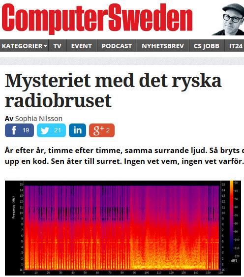 Computer Sweden om  det ryska radiobruset på 4625 kHz. Samma brus i över 30 års tid. 25 signaler per minut, 24 timmar om dygnet...