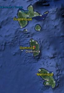 J7 - Dominica i Karibien ligger mellan de franska öarna Guadeloupoe och Martiniqe.
