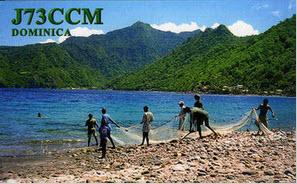 Lars J73CCM:s QSl-kort från Dominica. (Saxat från QRZ)