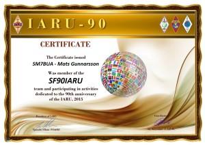 SM7BUA 90IARU award