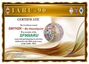 SM7HZK IARU - 90 Award
