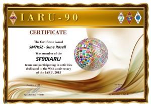 SM7KSZ 90IARU award