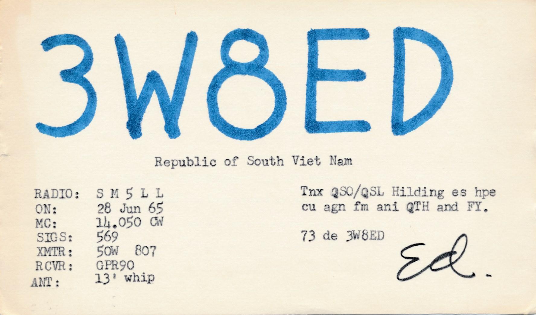 50 års text Ingen jubilar idag, men ett 50 år gammalt QSO kan vi fira  50 års text