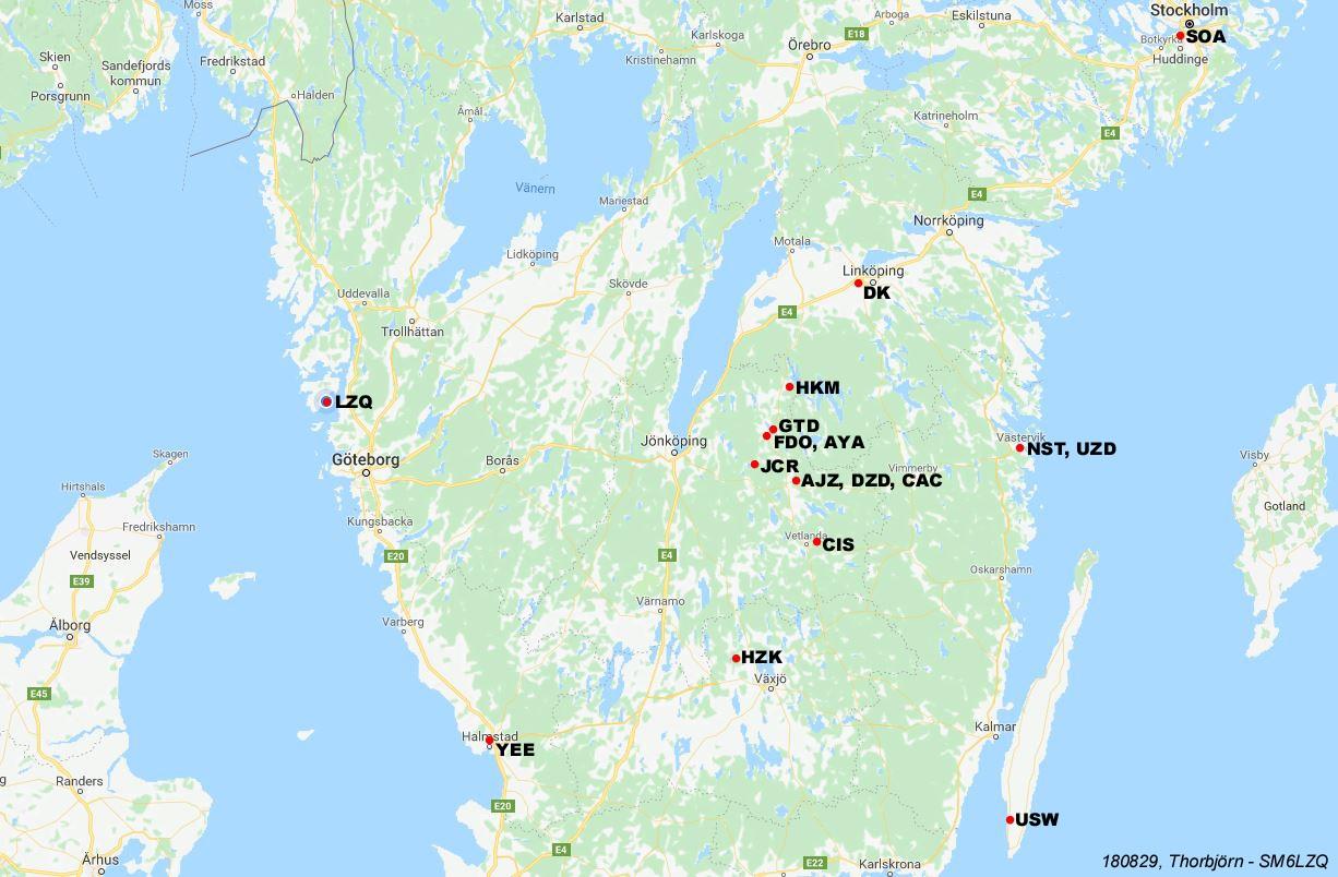 Karta Fran Eksjo Radioklubb Och Hoglandsringen Foreningen