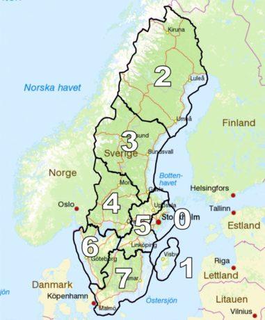 Mapa de los distritos suecos
