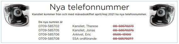 Nya telefonnummer till kansliet
